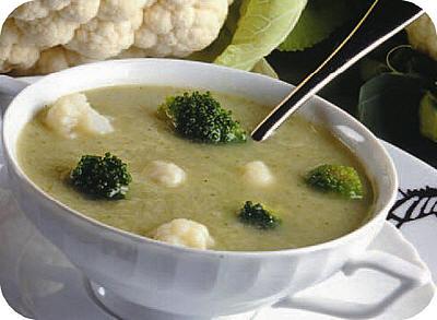 Bloemkool-broccoli soep